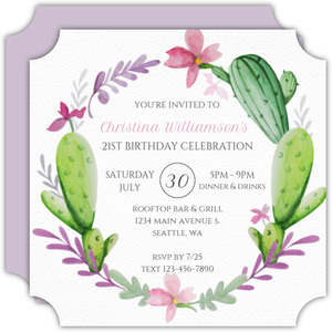 Precious Cacti Wreath 21st Birthday Invitations