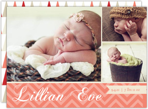 Modern Coral Red Chevron Birth Announcement