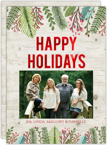 Happy Holiday Red Foil Holiday Photo Card
