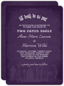 Zombie Tombstone Halloween Wedding Invitation