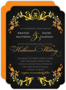 Orange and Yellow Watercolor Halloween Wedding Invitation