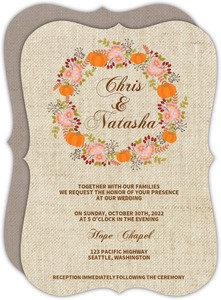 Burlap Pattern Fall Wedding Invitation