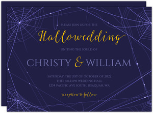 Purple Webs Halloween Wedding Invitation