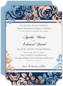 Something Blue Faux Copper Foil Wedding Invitation