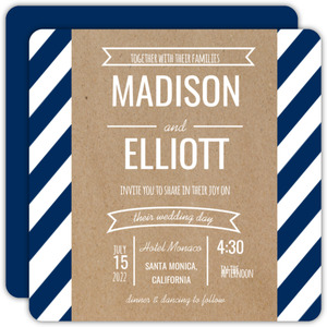 Banner and Stripes Kraft Wedding Invitation