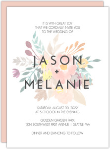 Modern Watercolor Flowers Wedding Invitation