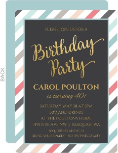 Muted Colored Stripes 40th Birthday Invitation