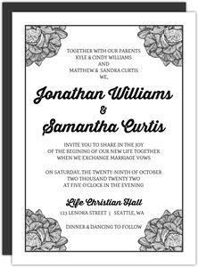 Black And White Flower Wedding Invitation