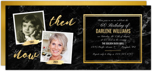 Faux Gold & Marble 60th Birthday Invitation