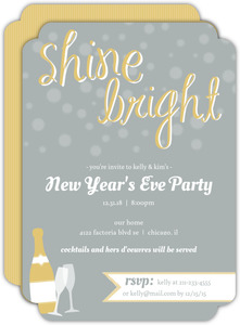 Modern Gray and Gold New Year's Eve Holiday Party Invitation