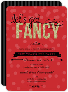 Faux Glitter Gold and Red New Year Holiday Party Invitation