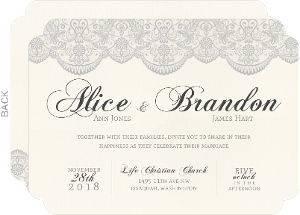 Vintage Gray Lace Wedding Invitation