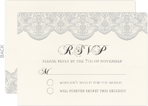Vintage Gray Lace Wedding Response Card