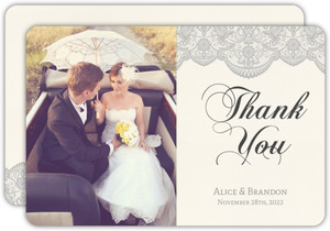 Vintage Gray Lace Wedding Thank You Card