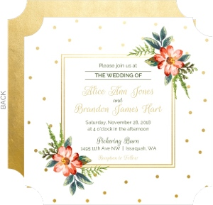 Floral Faux Gold Wedding Invitation