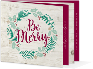 Be Merry Winter Greenery Booklet Holiday Card