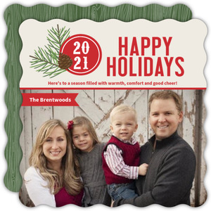 Festive Pine Needle Monogram Holiday Photo Card