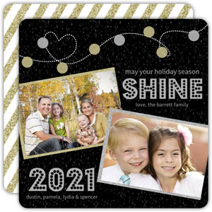 Glitter Gold Silver Lights Holiday Photo Card