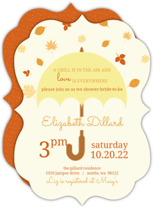 Fall Umbrella Bridal Shower Invitation