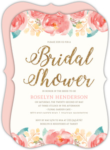 Elegant Watercolor Flower Bridal Shower Invitation Bridal Shower Invitation
