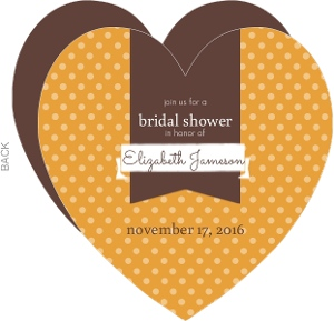 Orange Polka Dot Pattern Bridal Shower Invitation
