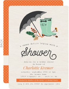 Fall Foliage and Rainboots Bridal Shower Invitation