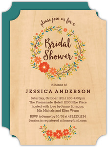Rustic Floral Wreath Bridal Shower Invitation