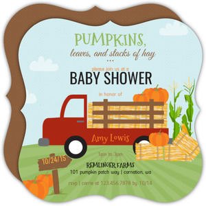 Whimsical Pumpkin Patch Baby Shower Invitation