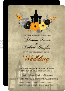 Vintage Autumn Flowers Wedding Invitation