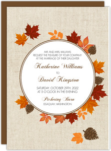 Rustic Leaves Wreath Wedding Invitation