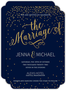 Navy Gold Stars Wedding Invitation