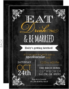 Chalkboard Halloween Bridal Shower Invitation