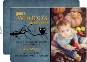Midnight Owl Halloween Birthday Invitation