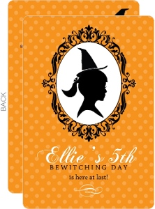 Girl Witch Silhouette Halloween Birthday Invitation