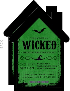 Green Wicked House Halloween Birthday Invitation