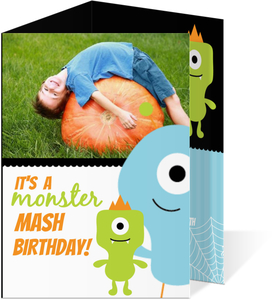 Green Little Monsters Halloween Birthday Invitation