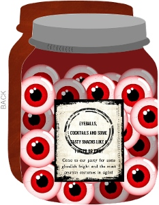 Jar of Eyes Halloween Party Invitation