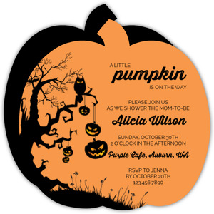 Orange Pumpkin Owl Baby Shower Invitation
