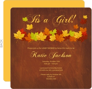 Burgundy Fall Leaves Baby Shower Invitation