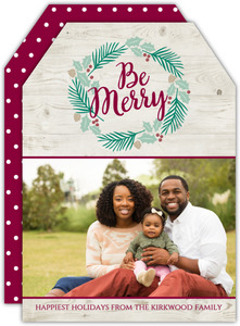 Be Merry Wreath Christmas Photo Card