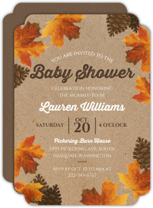 Rustic Autumn Leaves Baby Shower Invitation