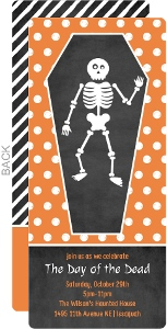 Orange Coffin Halloween Invitation