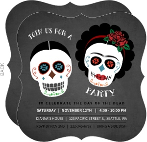 Chalkboard Skull Day Of the Dead Party Invitation