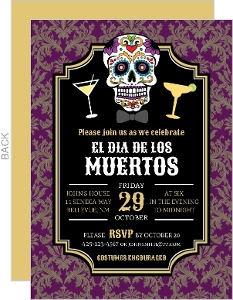 Gold Burgundy Damask Dia De Los Muertos Party Invitation