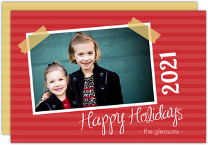 Red Striped Scrapbook Holiday Card