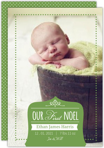 Green Polka Dot First Christmas Photo Card