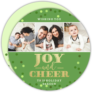 Joy and Cheer Faux Foil Confetti Holiday Photo Card