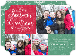 Seasons Greetings Snowflake Holiday Photo Card