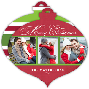Red & Green Stripes Ornament Photo Card