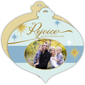 Whimsical Stars Rejoice Ornament Photo Card